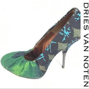 Dries Van Noten Green Graphic Heels